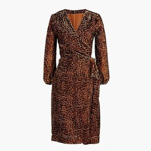 J. Crew Wrap Velvet Animal Print Dress